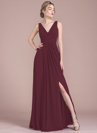 A-Line/Princess V-neck Floor-Length Chiffon Bridesmaid Dress With Ruffle Split Front