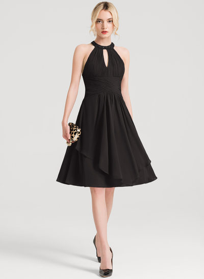 A-Line/Princess Scoop Neck Knee-Length Chiffon Cocktail Dress With Beading Sequins Cascading Ruffles