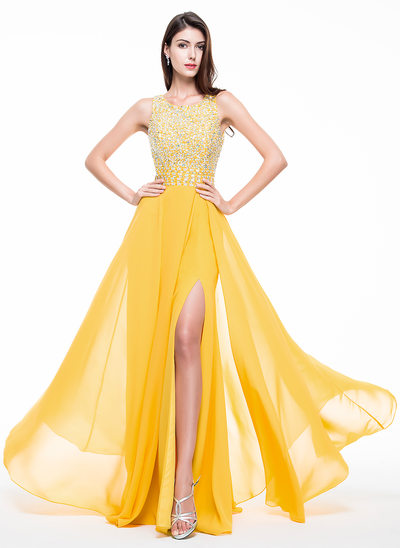 A-Line/Princess Scoop Neck Floor-Length Chiffon Prom Dress With Beading Sequins Split Front