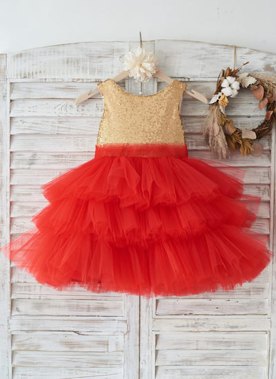 A-Line/Princess Knee-length Flower Girl Dress - Tulle/Sequined Sleeveless Scoop Neck With Sequins/Bow(s)/V Back