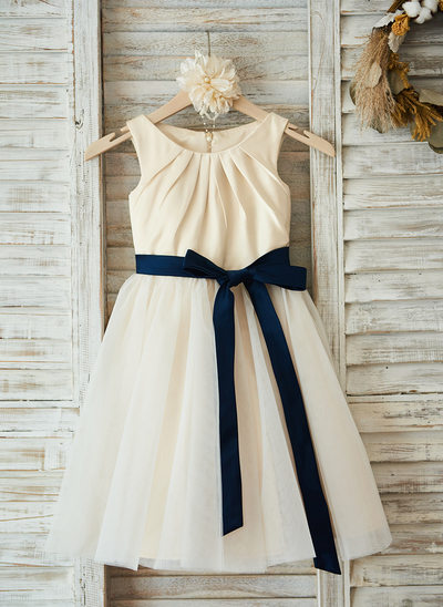 A-Line/Princess Knee-length Flower Girl Dress - Satin/Tulle Sleeveless Scoop Neck With Sash/Pleated