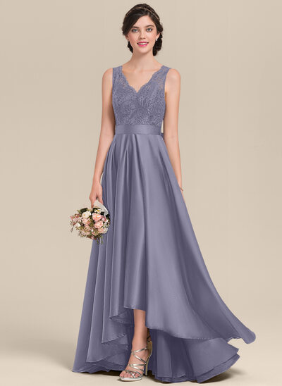 A-Line V-neck Asymmetrical Satin Lace Bridesmaid Dress With Bow(s)