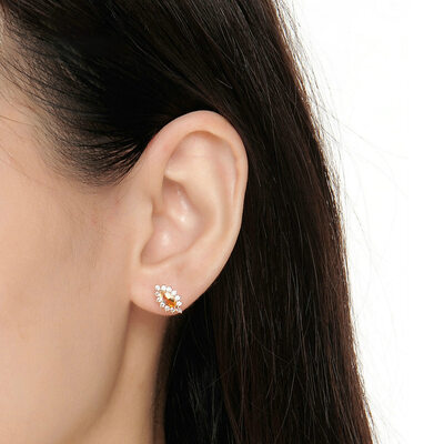 Ladies' Unique 925 Sterling Silver/Rose Gold Plated With Cubic Crystal Earrings For Bride/For Bridesmaid