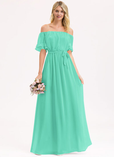 A-Line Off-the-Shoulder Floor-Length Chiffon Bridesmaid Dress With Bow(s) Cascading Ruffles