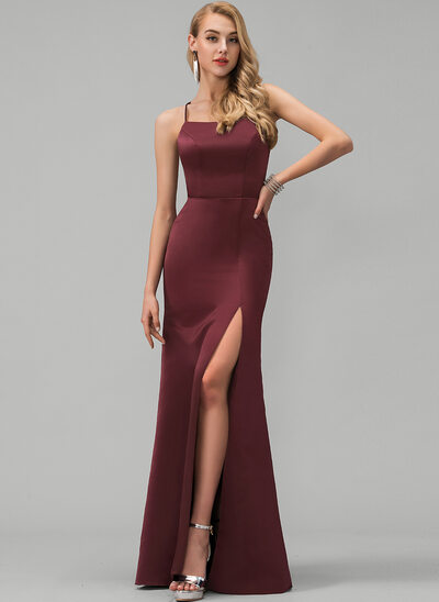 Sheath/Column Square Neckline Floor-Length Satin Evening Dress With Split Front