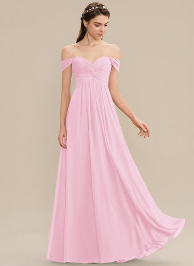 A-Line Off-the-Shoulder Floor-Length Chiffon Bridesmaid Dress With Ruffle