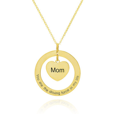 Christmas Gifts For Her - Custom 18k Gold Plated Silver Engraving/Engraved Circle Engraved Necklace Circle Necklace With Heart