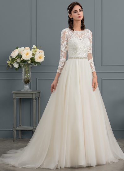 Ball-Gown Scoop Neck Court Train Tulle Wedding Dress With Beading