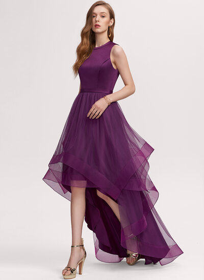 A-Line Scoop Neck Asymmetrical Tulle Prom Dresses