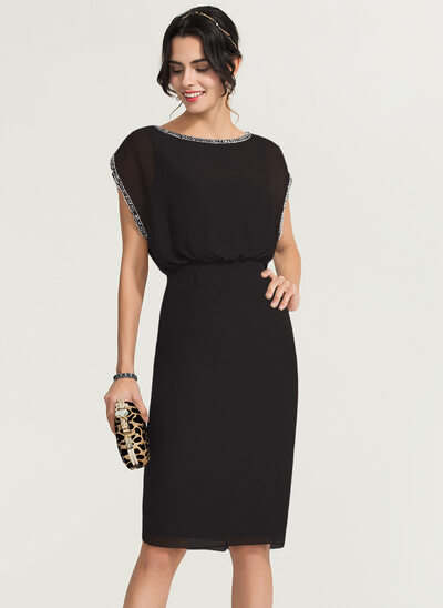 Sheath/Column Scoop Neck Knee-Length Chiffon Cocktail Dress With Beading
