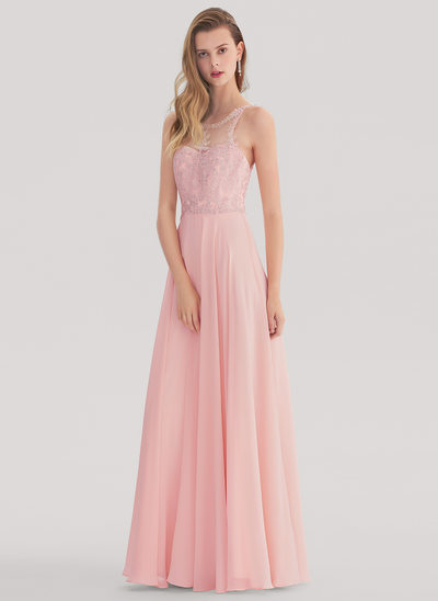 A-Line/Princess Scoop Neck Floor-Length Chiffon Prom Dress With Beading