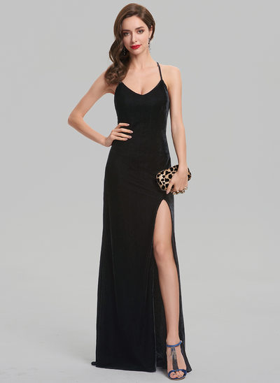 Sheath/Column Scoop Neck Floor-Length Velvet Prom Dresses With Split Front