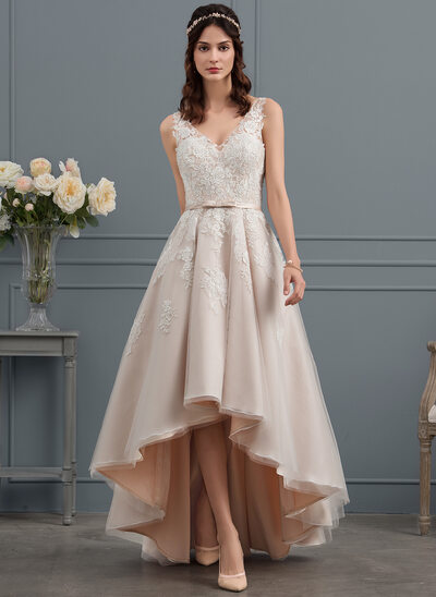 A Line Princess V Neck Asymmetrical Tulle Lace Wedding Dress With Bow