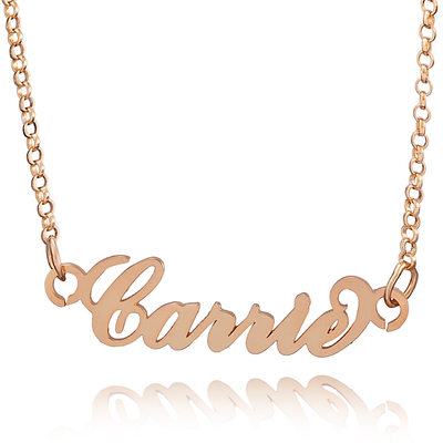Custom 18k Rose Gold Plated Carrie Nameplate Name Necklace