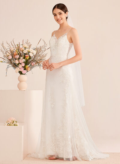 [Free Shipping]A-Line V-neck Court Train Wedding Dress With Sequins