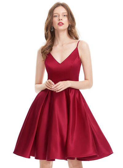A-Line V-neck Knee-Length Satin Prom Dresses