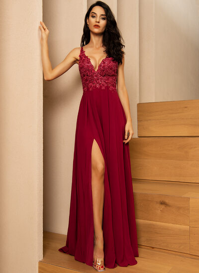 A-Line V-neck Floor-Length Chiffon Bridesmaid Dress With Lace Sequins Split Front
