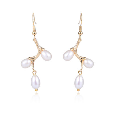Ladies' Elegant Pearl/Copper/Gold Plated Pearl Earrings For Her