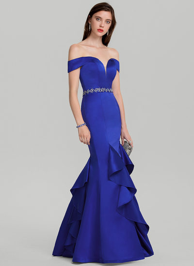 Trumpet/Mermaid Off-the-Shoulder Floor-Length Satin Prom Dress With Beading Sequins