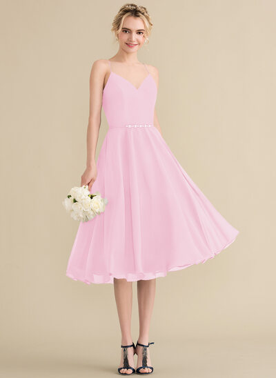 A-Line/Princess V-neck Knee-Length Chiffon Bridesmaid Dress With Beading