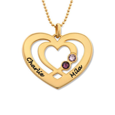 Custom 18k Gold Plated Two Name Necklace Heart Necklace Birthstone Necklace Engraved Necklace
