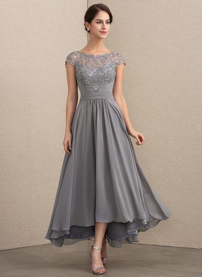 79196f60e10 A-Line Princess Scoop Neck Asymmetrical Chiffon Lace Mother of the Bride  Dress