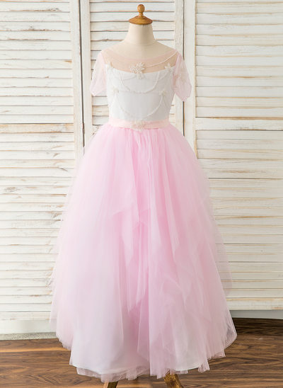 A-Line Floor-length Flower Girl Dress - Satin/Tulle Short Sleeves Sweetheart With Beading