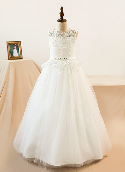 A-Line/Princess Scoop Neck Floor-Length Tulle Junior Bridesmaid Dress With Sash Beading