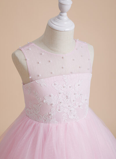 A-Line Knee-length Flower Girl Dress - Tulle/Lace Sleeveless Scoop Neck With Beading/Bow(s)