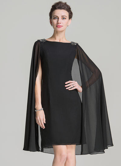 Sheath/Column Scoop Neck Knee-Length Chiffon Mother of the Bride Dress With Beading Appliques Lace Sequins