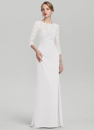 A-Line/Princess Scoop Neck Floor-Length Chiffon Lace Mother of the Bride Dress With Ruffle