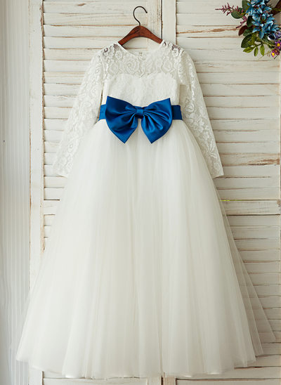 A-Line/Princess Floor-length Flower Girl Dress - Tulle/Lace Long Sleeves Scoop Neck With Sash