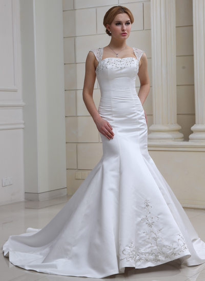 Trumpet/Mermaid Sweetheart Chapel Train Satin Organza Wedding Dress With Embroidered Beading Sequins