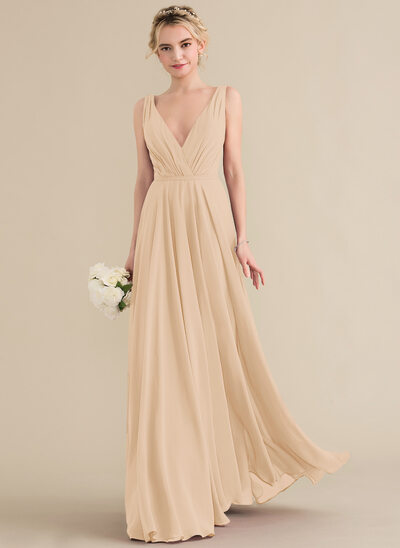 ab9105ddc A-Line/Princess V-neck Floor-Length Chiffon Bridesmaid Dress With Ruffle