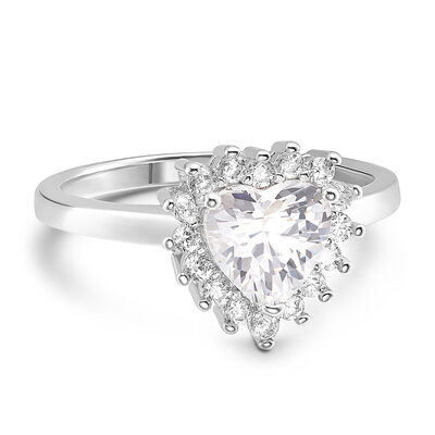 Sterling Silver Cubic Zirconia Halo Solitaire Heart Cut Engagement Rings Promise Rings -