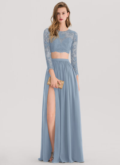 A-Line Scoop Neck Floor-Length Chiffon Prom Dresses With Split Front