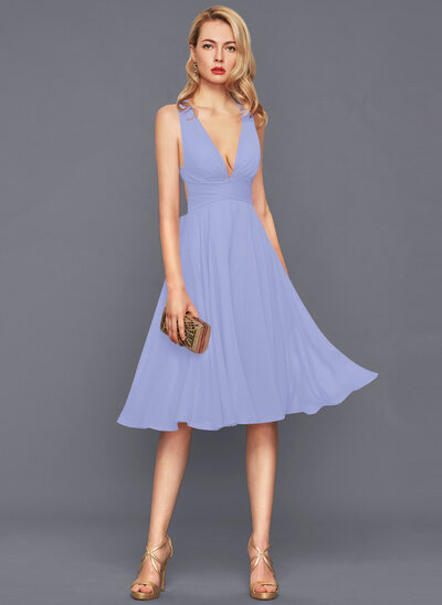 A-Line Knee-Length Chiffon Cocktail Dress With Ruffle Bow(s)