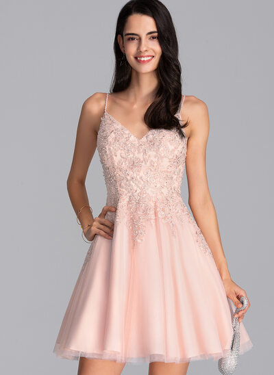 A-Line V-neck Short/Mini Tulle Prom Dresses With Beading Sequins
