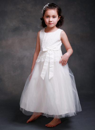 A-Line/Princess Ankle-length - Satin/Tulle Sleeveless Scoop Neck With Lace