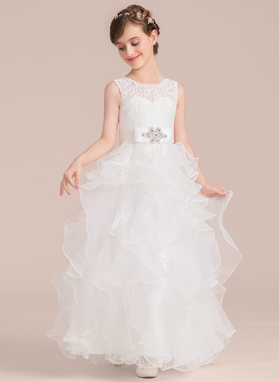 A-Line/Princess Floor-length Flower Girl Dress - Organza/Lace Sleeveless Scoop Neck With Sash/Beading