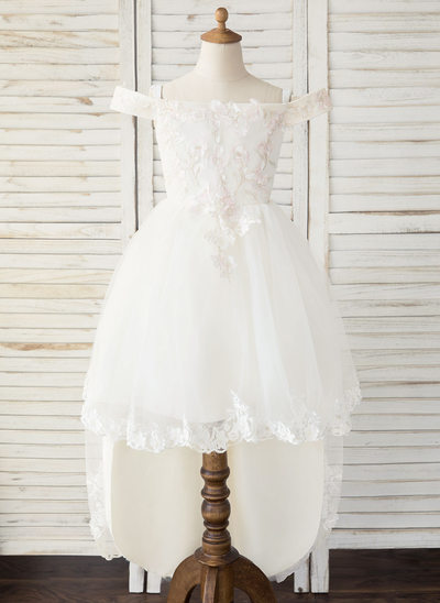 A-Line Asymmetrical Flower Girl Dress - Tulle/Lace Sleeveless Off-the-Shoulder