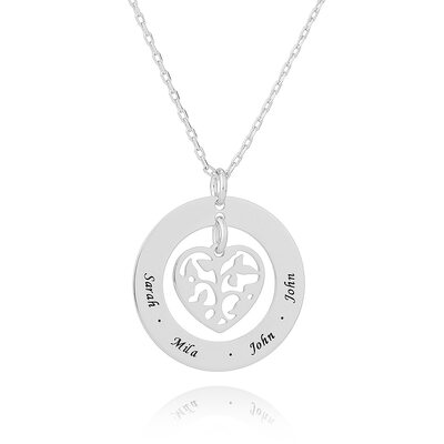 Custom Silver Engraving/Engraved Family Necklace Circle Necklace With Heart Family Tree - Valentines Gifts