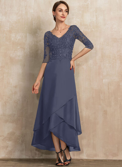 A-Line V-neck Asymmetrical Chiffon Lace Cocktail Dress With Beading Sequins