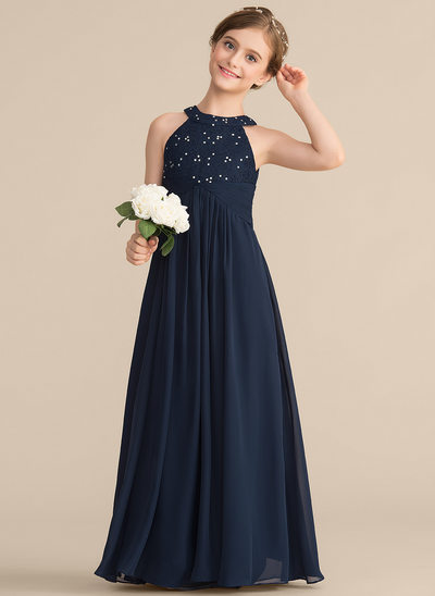 14b9e53b4 A-Line/Princess Scoop Neck Floor-Length Chiffon Lace Junior Bridesmaid Dress  With