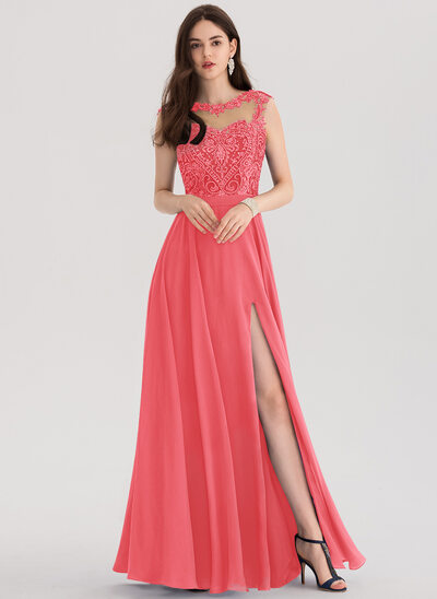 A-Line/Princess Scoop Neck Floor-Length Chiffon Prom Dresses With Beading Sequins Split Front