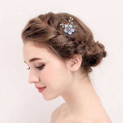 Ladies Elegant Imitation Pearls/Silk Flower Hairpins