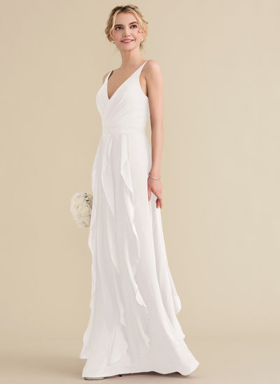 A-Line/Princess V-neck Floor-Length Chiffon Evening Dress With Cascading Ruffles