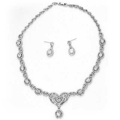 Ladies' Shining Copper/Platinum Plated With Oval Cubic Zirconia Jewelry Sets For Bride/For Mother