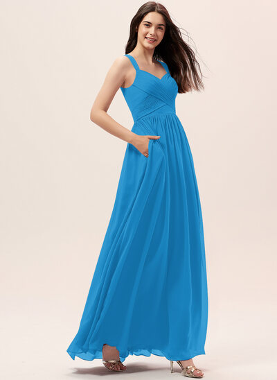 A-Line Sweetheart Floor-Length Chiffon Bridesmaid Dress With Ruffle Pockets