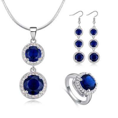 Ladies' Stylish Alloy/Platinum Plated With Round Austrian Crystal Jewelry Sets For Mother/For Couple